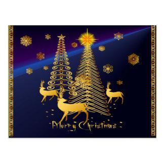 Árboles de navidad y reno del oro postal
