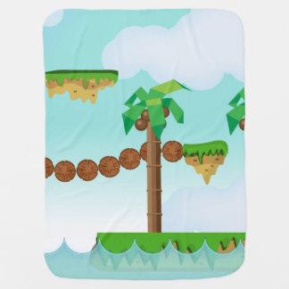 Árboles de palma del videojuego del vintage manta de bebé