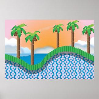 Árboles de palma del videojuego del vintage poster