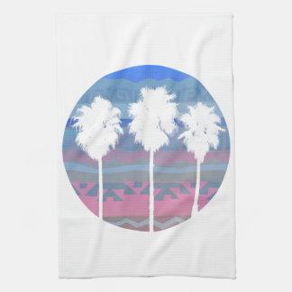 Árboles de palmas en puesta del sol azteca toallas de mano