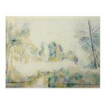 Árboles de Paul Cezanne- por el agua Tarjetas Postales