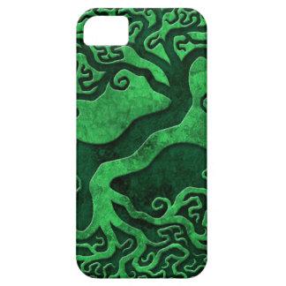 Árboles de piedra verdes de Yin Yang iPhone 5 Carcasas