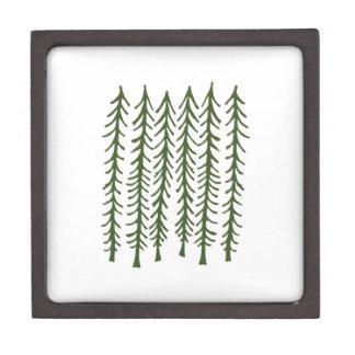Árboles de pino caja de recuerdo de calidad