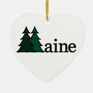 Árboles de pino de Maine Adorno Navideño De Cerámica En Forma De Corazón