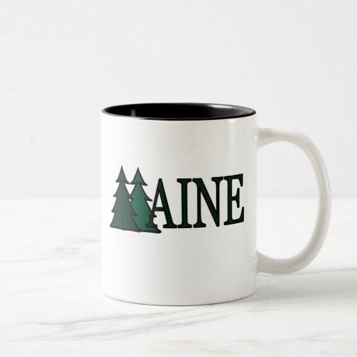 Árboles de pino de Maine II Taza Dos Tonos