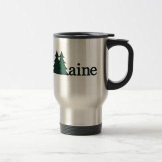 Árboles de pino de Maine Taza De Viaje