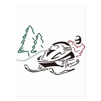 Árboles de pino de Snowmobiler Tarjeta Postal