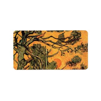 Árboles de pino de Van Gogh contra el sol poniente Etiqueta De Dirección