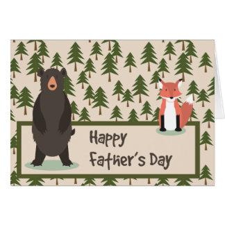 Árboles de pino del día de padres oso y Fox Tarjeta De Felicitación