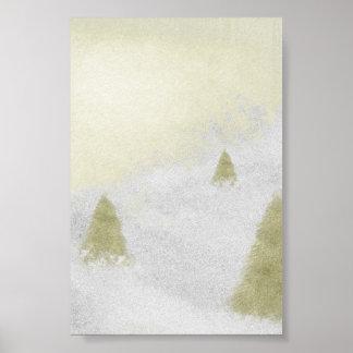 árboles de pino del navidad en la pintura de la posters