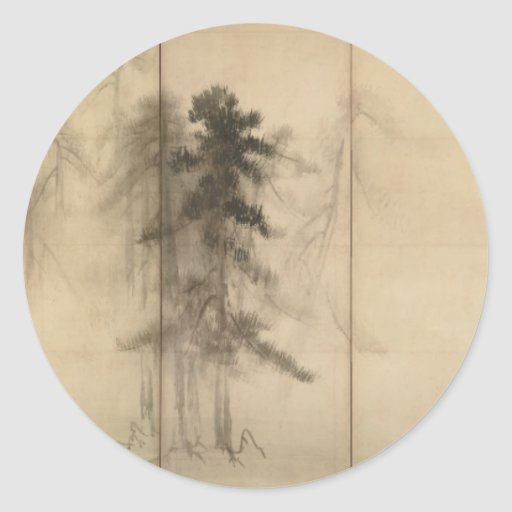 Árboles de pino por el siglo XVI de Hasegawa Pegatina Redonda