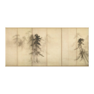 Árboles de pino por el siglo XVI de Hasegawa Tohak Impresión En Lona Estirada
