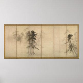 Árboles de pino por el siglo XVI de Hasegawa Tohak Póster