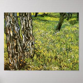 Árboles de pino y dientes de león Vincent van Gog Poster