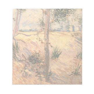 Árboles de Van Gogh en un campo en un día soleado Libretas Para Notas
