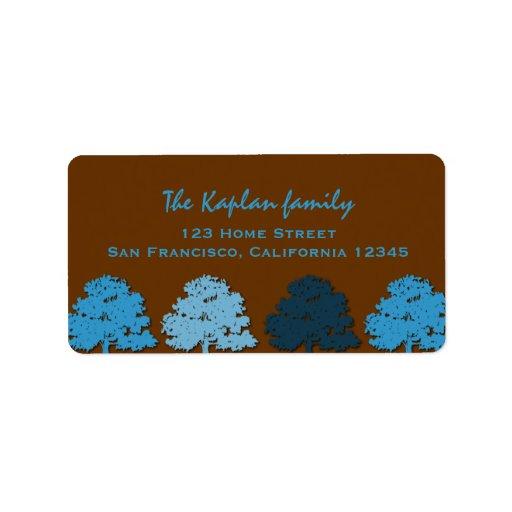 Árboles del azul de Mitzvah de la barra del boda d Etiquetas De Dirección