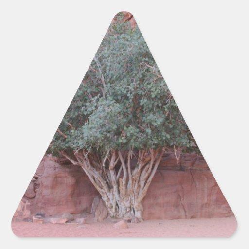 Árboles del desierto pegatina triangular