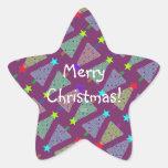 Árboles del día de fiesta de las Felices Navidad Pegatina En Forma De Estrella
