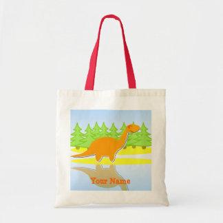 Árboles del dinosaurio y tote anaranjados del bols bolsas