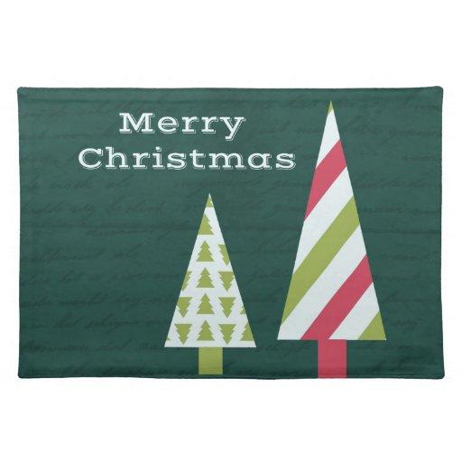 Árboles del gráfico de las Felices Navidad Mantel Individual