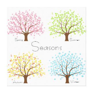 Árboles del invierno del otoño del verano de la lienzo envuelto para galerias