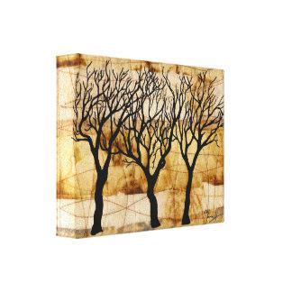 Árboles del invierno en fondo de la bolsita de té impresión en tela