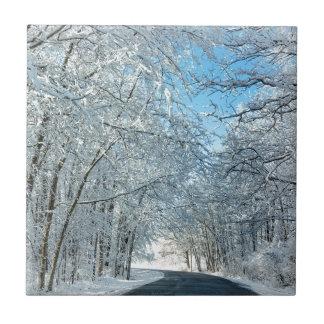Árboles del invierno Nevado Azulejo Cuadrado Pequeño
