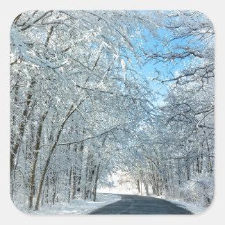 Árboles del invierno Nevado Pegatina Cuadrada