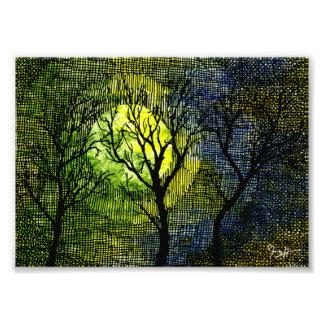 Árboles del invierno sobre la acuarela - amarillo  impresion fotografica