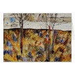 Árboles del invierno tarjeta de felicitación
