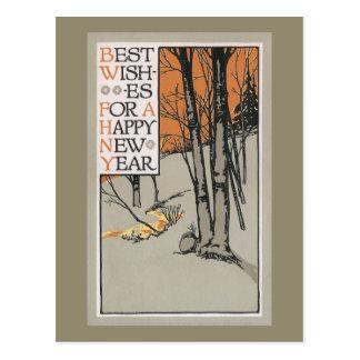 Árboles del invierno y Año Nuevo del vintage Postal