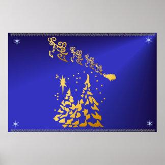 Árboles del oro y poster del reno de Santas