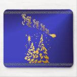 Árboles del oro y reno Mousepad de Santas Tapete De Ratón