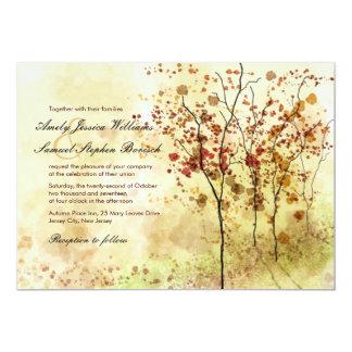 """Árboles del otoño de la acuarela que casan la invitación 5"""" x 7"""""""