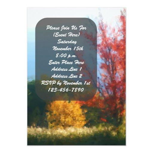 """Árboles del otoño de la caída que pintan la invitación 5"""" x 7"""""""
