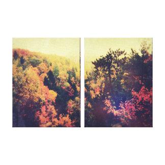 Árboles del otoño de Michigan del vintage Impresiones En Lona