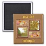 Árboles del otoño en un imán del collage de la par