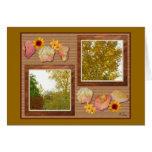 Árboles del otoño en una tarjeta del collage de la