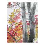 Árboles del otoño ninguna postal de la frontera