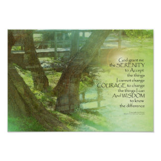 Árboles del rezo de la serenidad, agua, puente póster