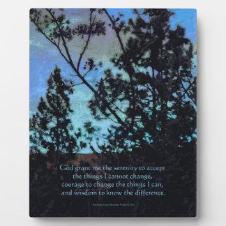 Árboles del rezo de la serenidad y azul de cielo placa de plastico
