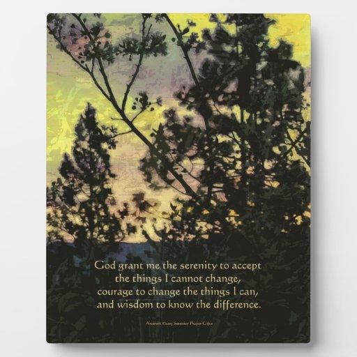 Árboles del rezo de la serenidad y verde amarillo  placa de plastico