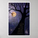 Árboles desnudos de la Luna Llena Poster