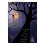 Árboles desnudos de la Luna Llena Tarjeta