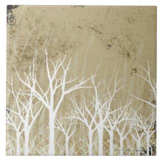 Árboles desnudos del invierno azulejo cuadrado grande