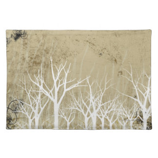 Árboles desnudos del invierno manteles individuales