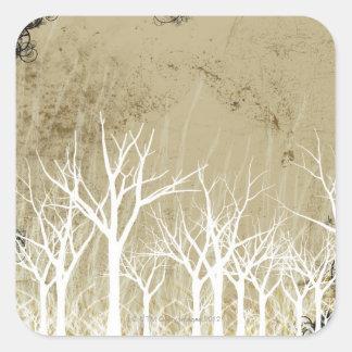Árboles desnudos del invierno pegatina cuadrada