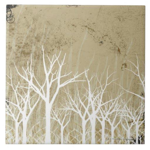 Árboles desnudos del invierno teja