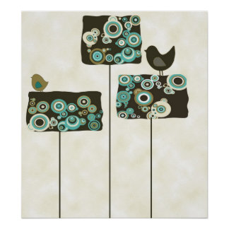 Árboles e impresión abstractos retros del poster d