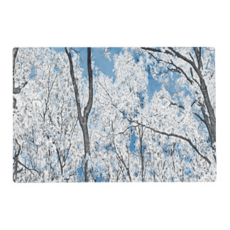 Árboles en azul tapete individual